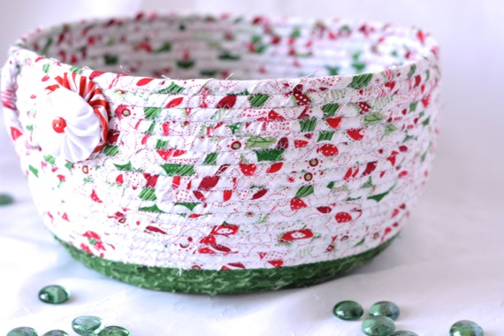Christmas Home Decor, Homemade Christmas Gift Basket, Holiday Decoration,  Holiday Table Decor, Handmade Coiled Basket, Card Holder