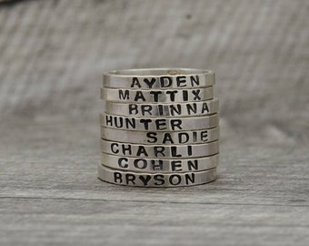 Personalized Name Ring in Sterling Silver Hand Stamped Ring for Mom Womens Silver Ring Gift for Her