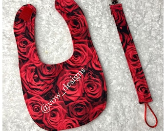 Red Rose Baby Bib and Pacifier Clip Set
