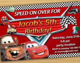 Disney Cars Birthday Invitation Disney Cars Invitation