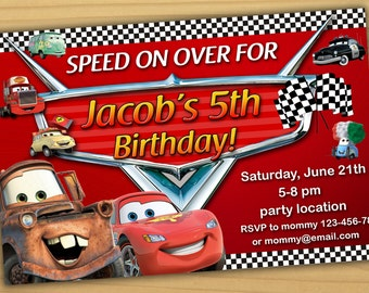SALE Disney Cars Birthday Invitation Disney Cars invitation
