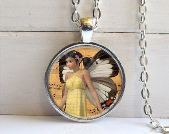 Fairy Necklace, Fairy Pendant, Music Fairy, Silver Art Pendant, Fantasy Jewelry