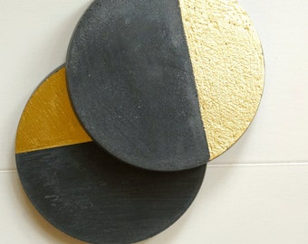 Gold Painted Black Concrete Round Coasters. Cement Coasters.