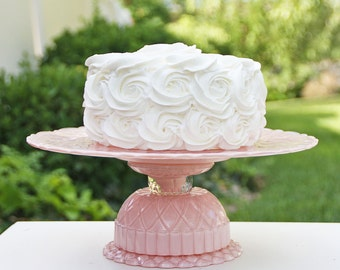 Cake Stand Pink One One Tier Cake Stand / Cupcake Stand Shabby Chic  Made To Order