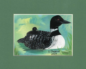 Original Painting - Oil on Watercolor Paper - Loon with Baby