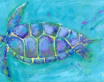 Swimming Sea Turtle: Fine art giclee from original acrylic painting
