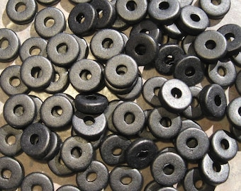 25 Black Greek Ceramic 8mm Round Spacer Beads