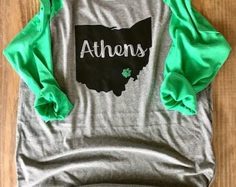 Ohio University Bobcat 3/4 Sleeve T-Shirt/ Green 3/4 Bobcat