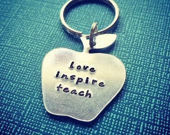 love inspire teach apple teacher key chain - perfect gift for a male or female teacher