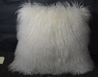 "Mongolian Lamb  Pillow 18"" Natural White  Sheepskin Fur 18"