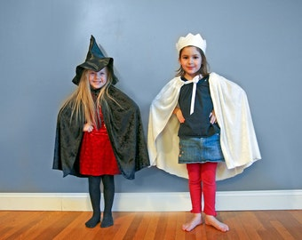 Handmade Cape Black or White Crushed Velvet Witch Wizard Princess Children Kids Toddler