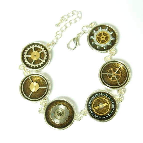 Steampunk Bracelet Clock and Watch Parts in Resin, Bronze, Silver, Cogs, Gears, Hand Made , Unique
