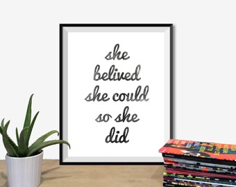 "Inspirational Quote Wall Decor ""She Believed She Could So She Did"" Typography Print Inspirational Poster Instant Digital Printable Download2"
