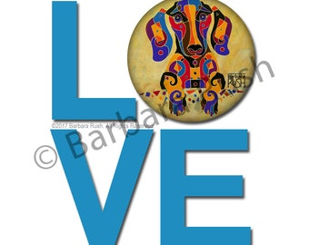 Dachshund Sticker, Whimsical Dachshund Art, Dog Art, Dachshund Art, Contemporary Dachshund,  Dog Gift, Dog Art, DogArt, Colorful Dachshund