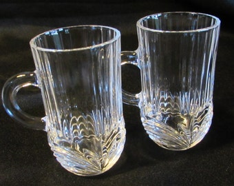 Clear Glass Demitasse Espresso Cups, Crystal Demitasse Cups, Espresso Drinking Cups, 2 Espresso Coffee Cups, Crystal Toothpick Holder