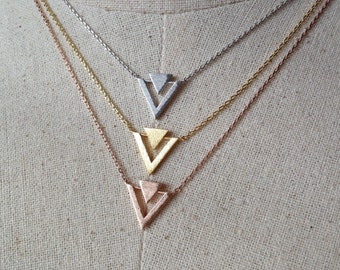 Geometric Necklace, 14k Gold plated/Rose Gold/Silver, Double Triangle Necklace, Dainty Necklace, Triangle Necklace