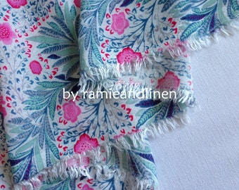 """Rayon fabric, floral print cotton rayon blend gauze fabric, half yard by 56"""" wide"""