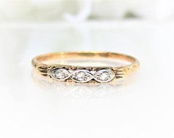 Art Deco Diamond Wedding Ring 14K Two Tone Gold Ladies Thin Wedding Band Petite Diamond Stackable Ring
