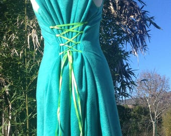 Adjustable fleece dress Turquoise green stitching, green lacing