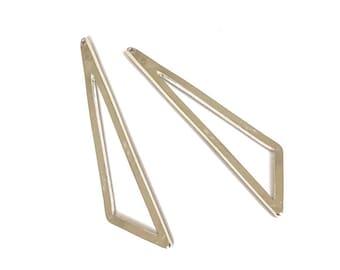 2 pendants 59x13mm silver geometric triangle * pf4-017 *.