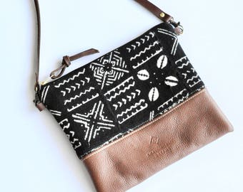 Tan Leather Purse - Boho Clutch - Leather Crossbody Bag - Mudcloth - Handmade in Australia - Sling Bag