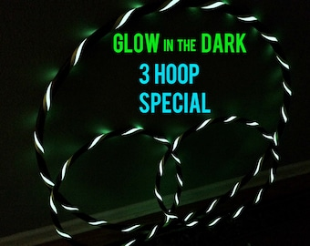 20% Off Sale- Glow in the DARK - Lot of 3 Hula Hoops - Polypro, PE, HDPE, 1 Collapsible/Push Button Body Hoop & 2 Mini Arm Hoops