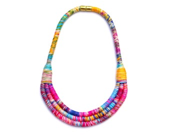 Colorful Fabric Bib Necklace, Fiber Art Necklace, Textile Statement Rope Necklace For Women, Unique Gift For Her, Mothers Day Jewelry