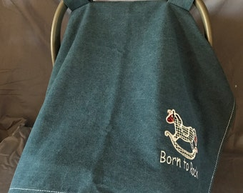 Infant Car Seat Cover -   BORN TO ROCK