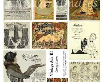 VINTAGE ADS #3, digital collage sheet, vintage images, antique ephemera, ladies women flappers, fashions illustrations, altered art DOWNLOAD