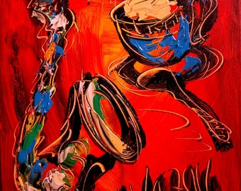 COFFEE SAXOPHONE  Textured original oil painting by Mark Kazav on stretched canvas Canadian modern abstract painting
