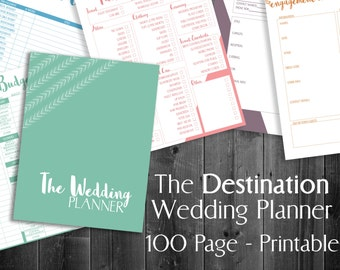 "Destination Wedding Planner Printable, 8.5""x11"" letter size printable digital wedding organizer planner, 100 page PDF wedding planning"