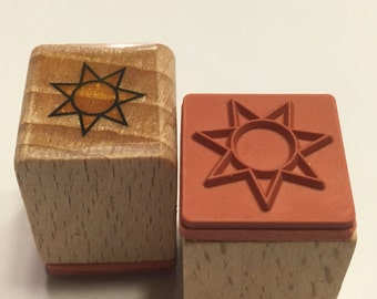 tiny sun rubber stamp, 17 mm (BB4/2)