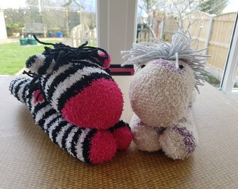 Sock horse zebra spotted cream purple plush striped black white toy teddy