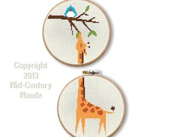 Giraffe Cross Stitch Pattern PDF Digital Instant Download Needlepoint