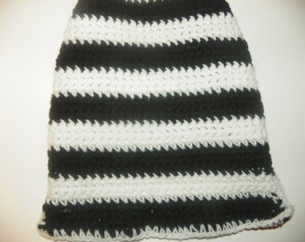 Black and White Stripes Doggie Sweater  Hand Crochet Size Med