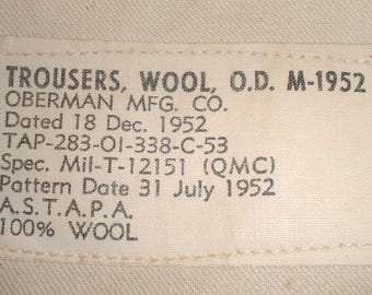 US Army M-1952 wool service trousers, size Small-Short; great condition; 30 X 27 Oberman Mfg.