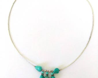 Turquoise One Strand Liquid Silver Choker Turquoise Gemstone Collar Necklace, Southwestern 925 Sterling Choker Necklace