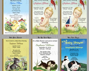 Little Golden Book Baby Shower Invitation Front and Back Design, Little Golden Book Shower Invitation, Story Book Baby Shower Invitation