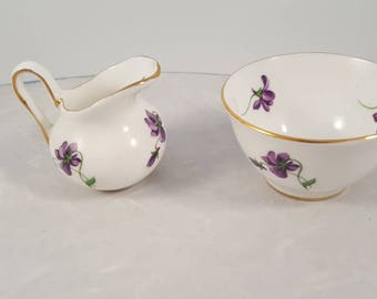 Royal Chelsea fine bone china Spring Violets creamer and sugar bowl.