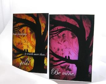 Mini Valentines, set of 12, images of original artwork Alchemy series