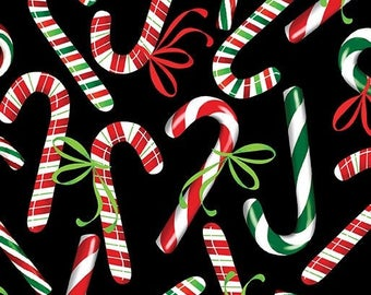Christmas Candy Canes  - red, green, white - novelty fabric - [[by the half yard]]