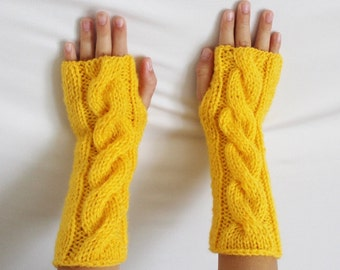 Fingerless Gloves - Yellow Gloves - Ready to ship