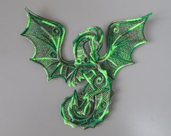 Embroidered Lace Dragon Applique with moving parts