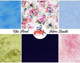 WATERCOLOR FLORAL Fabric Bundle by the Yard, Fat Quarter Bundle Sage Blush Pink & Navy Blue Fabric 100% Cotton Quilting Apparel Fabric Kit