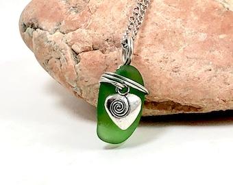 Sea Glass Necklace, Sea Glass Jewelry, Green Sea Glass, Heart Charms, Mermaid Jewelry, Beach Glass Necklace, Glass Pendant, Glass Jewelry