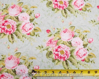 Hopelessly Romantic Pink Roses Bundle Flowers on Aqua Green BY YARDS Northcott Fabric
