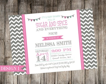 Charcoal Gray and Pink Baby Shower Invitation with optional thank you card - Print Your Own