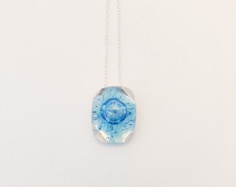blue bubble glass pendant set on sterling silver
