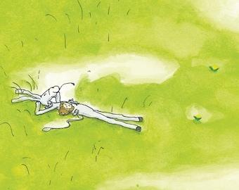 Green grass | Postcard |Donkey resting |  illustration | Kids