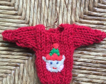 Custom Elf Ornament, Tiny Christmas Sweater Ornament with Christmas Elf Applique, Santa's  Elf, Xmas Elf Decor, MTO Xmas Ornaments Handmade